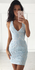 Hollow Out V Neck Lace Back Cross Short Bodycon Dress - Oh Yours Fashion - 2