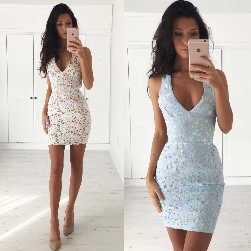 Hollow Out V Neck Lace Back Cross Short Bodycon Dress - Oh Yours Fashion - 1