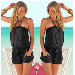 Pure Color Strapless Sleeveless Short Pocket Jumpsuit