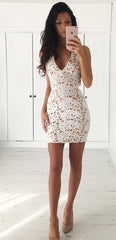 Hollow Out V Neck Lace Back Cross Short Bodycon Dress - Oh Yours Fashion - 4