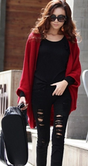 Batwing Solid Color Shawl Knit Loose Cardigan - Oh Yours Fashion - 2