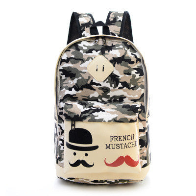 Fashion Canvas Camouflage Mustache Cartoon School Backpack Bag - Oh Yours Fashion - 2