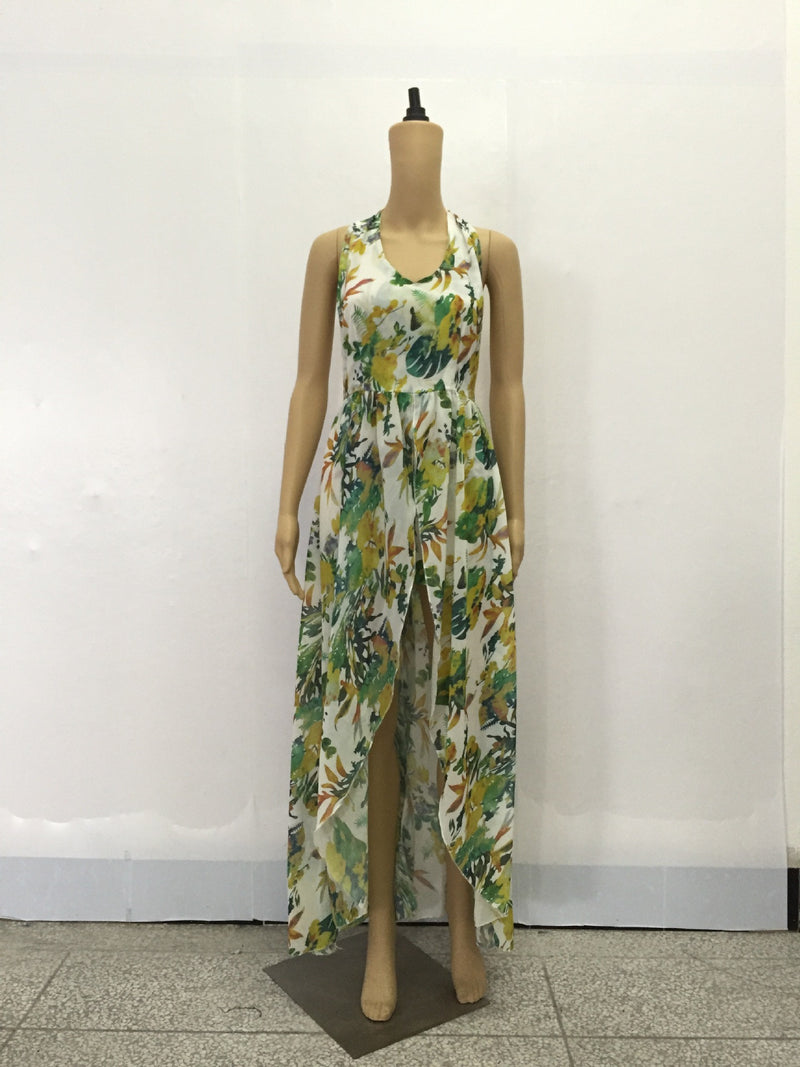 Beautiful Chiffon Floral Print Halter Split Beach Long Dress - Oh Yours Fashion - 5