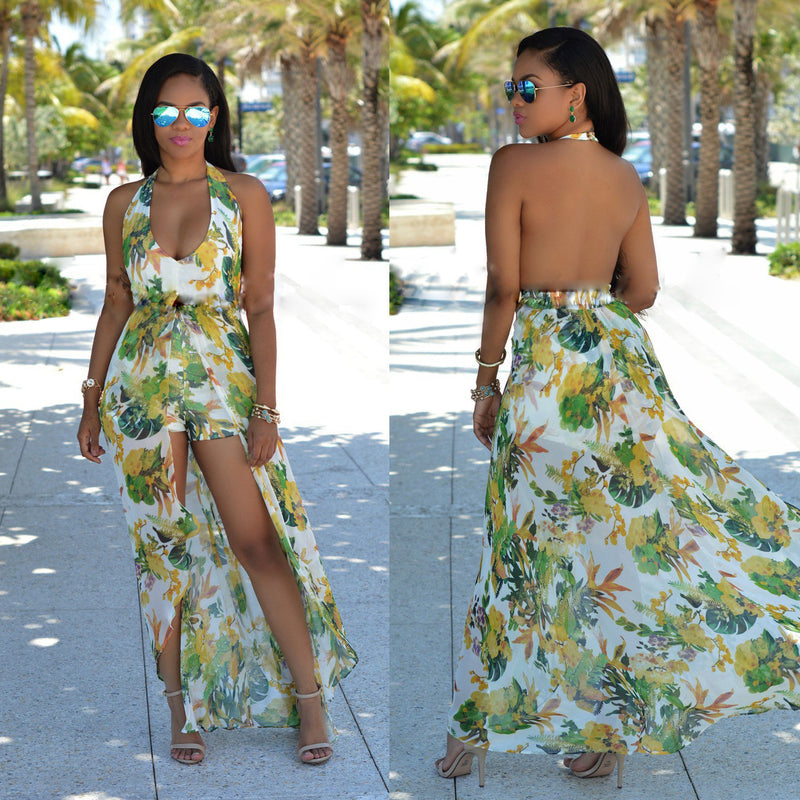 Beautiful Chiffon Floral Print Halter Split Beach Long Dress - Oh Yours Fashion - 1