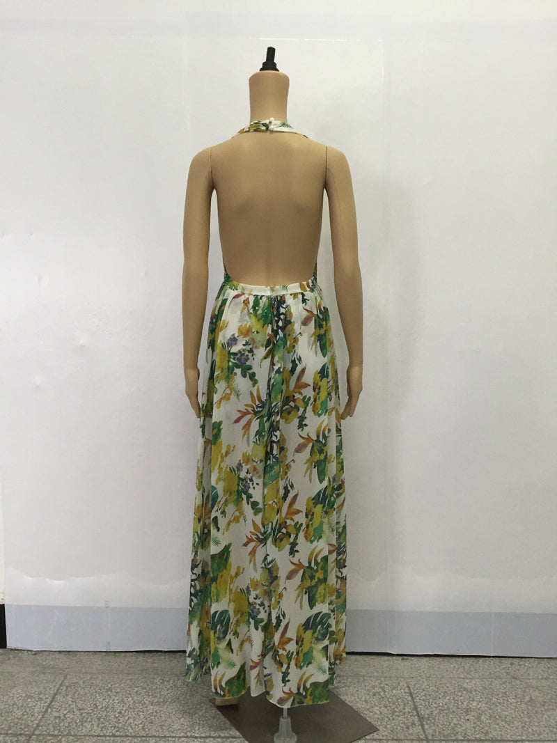 Beautiful Chiffon Floral Print Halter Split Beach Long Dress - Oh Yours Fashion - 6