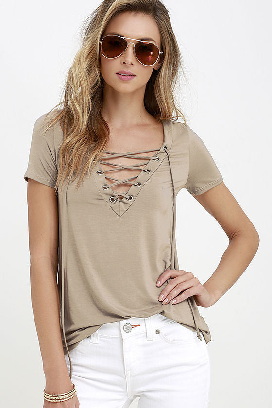 Pure Color V-neck Lace Up Short Sleeve T-shirt - Oh Yours Fashion - 1