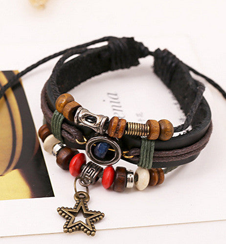 Vintage Star Pendant Beaded Leather Bracelet - Oh Yours Fashion - 2