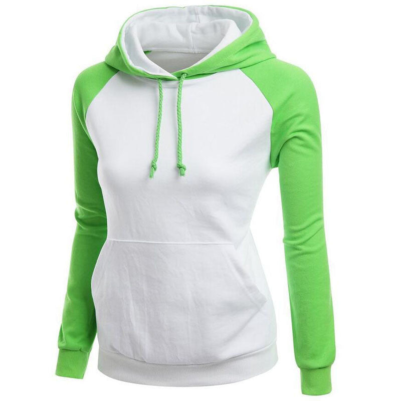 Contrast Color Splicing Pocket Slim Pullover Hoodie - Oh Yours Fashion - 4