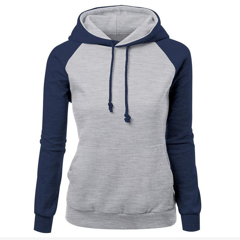 Contrast Color Splicing Pocket Slim Pullover Hoodie - Oh Yours Fashion - 2