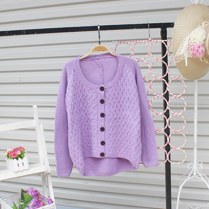 Cardigan Pure Color Elbow Patch Knit Sweater - Oh Yours Fashion - 1