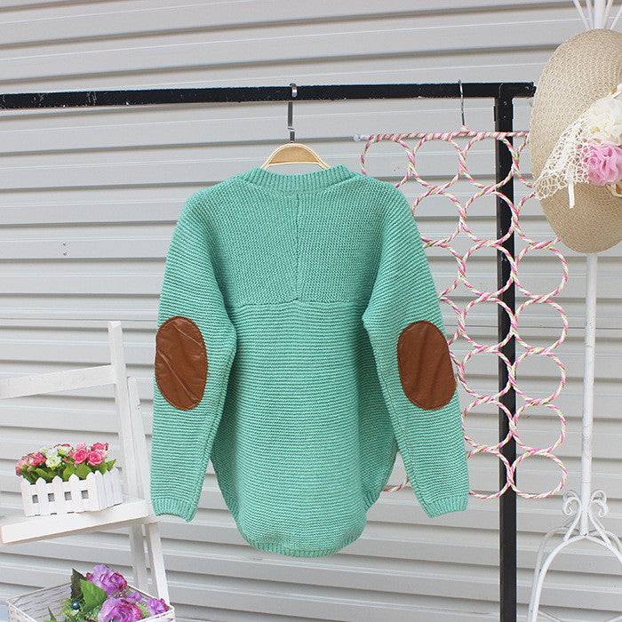 Cardigan Pure Color Elbow Patch Knit Sweater - Oh Yours Fashion - 7