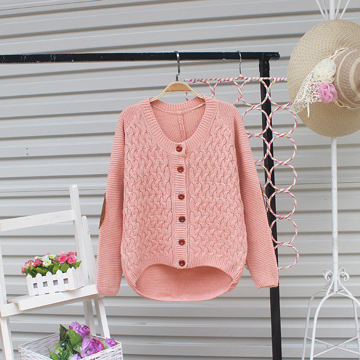 Cardigan Pure Color Elbow Patch Knit Sweater - Oh Yours Fashion - 6