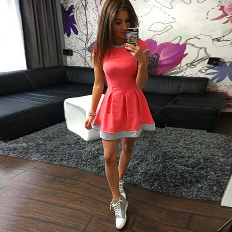 Pure Color O-neck Short Sleeve Short Dress - Oh Yours Fashion - 4