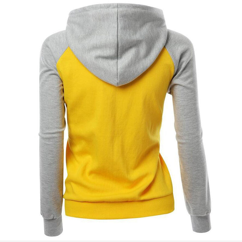Contrast Color Splicing Pocket Slim Pullover Hoodie - Oh Yours Fashion - 6