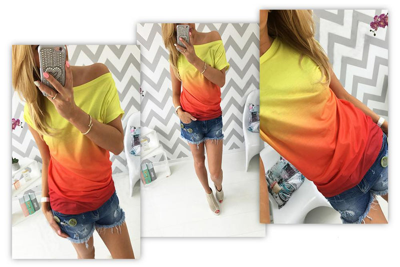 Gradually Changing Color Short Sleeves Scoop Casual T-shirt - Meet Yours Fashion - 4