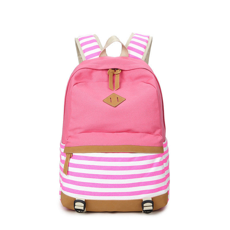 Stripe Print Fashion Canvas Backpack School Travel Bag - Oh Yours Fashion - 3