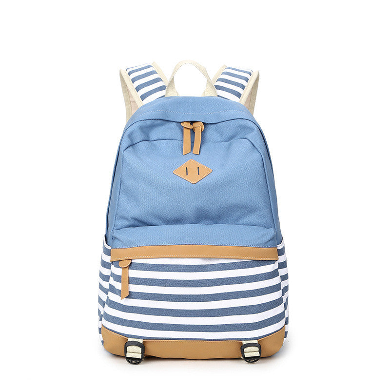 Stripe Print Fashion Canvas Backpack School Travel Bag - Oh Yours Fashion - 5
