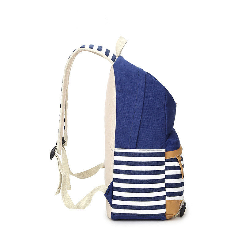 Stripe Print Fashion Canvas Backpack School Travel Bag - Oh Yours Fashion - 6