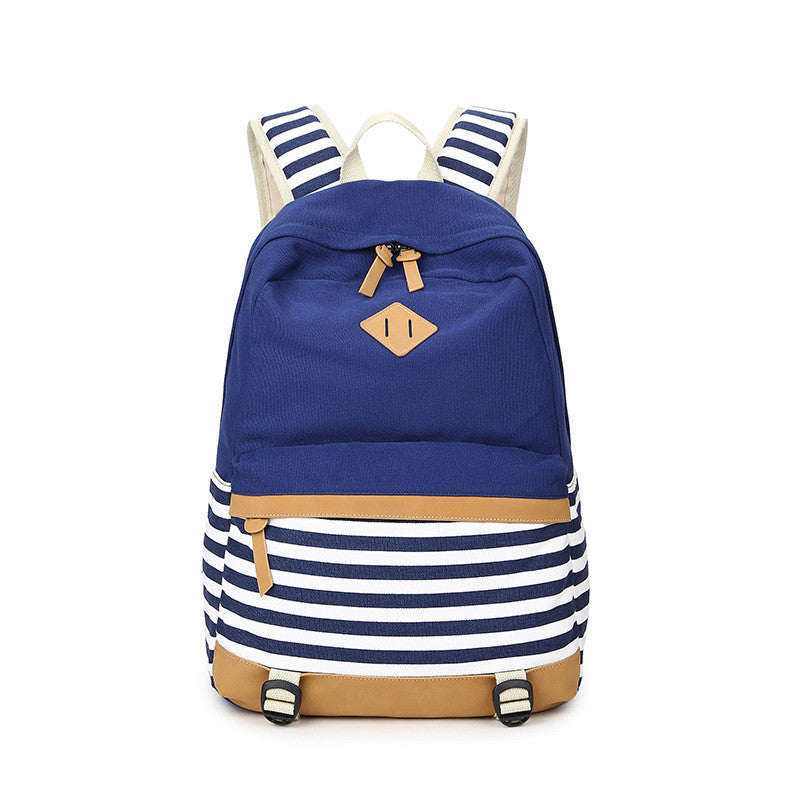 Stripe Print Fashion Canvas Backpack School Travel Bag - Oh Yours Fashion - 2