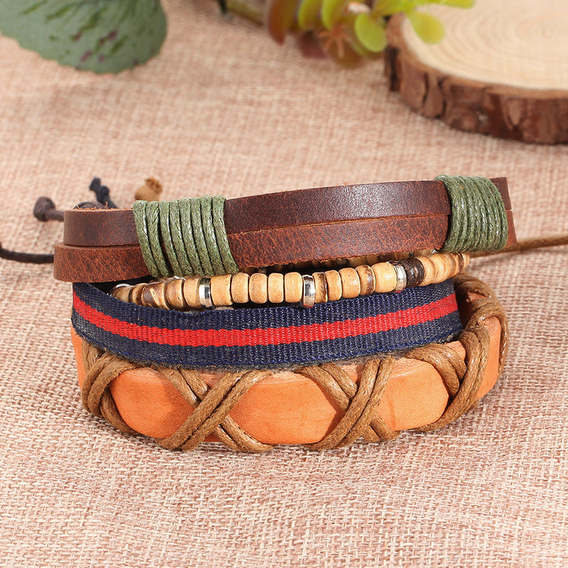 Overlapping Layers Hand Woven Leather Bracelet - Oh Yours Fashion - 3