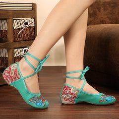 Butterfly Embroidery National Style Heels Shoes - Oh Yours Fashion - 4