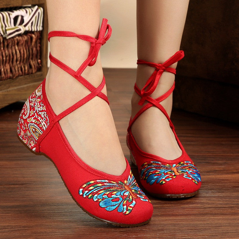 Butterfly Embroidery National Style Heels Shoes - Oh Yours Fashion - 1