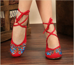 Butterfly Embroidery National Style Heels Shoes - Oh Yours Fashion - 6