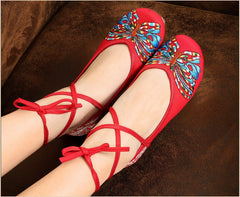 Butterfly Embroidery National Style Heels Shoes - Oh Yours Fashion - 9