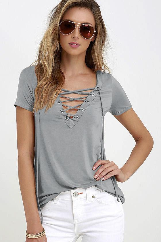 Pure Color V-neck Short Sleeves T-shirt