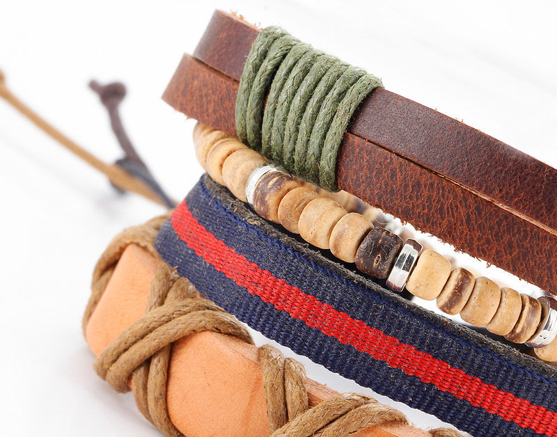Overlapping Layers Hand Woven Leather Bracelet - Oh Yours Fashion - 2