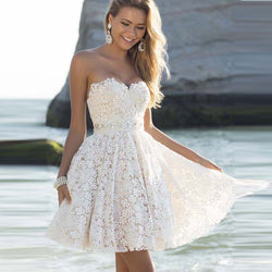 Sexy Strapless Floral Lace A-Line Pleated Short Bridesmaid Dress - Oh Yours Fashion - 1