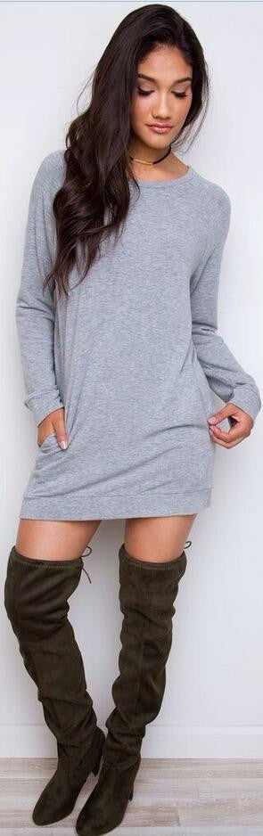 Simple Loose Scoop Long Sleeve Pocket Short Dress - Oh Yours Fashion - 2
