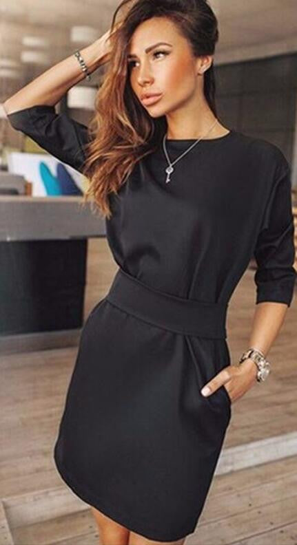 Hot Style Black Long Sleeve Scoop Short Dress With Belt - Oh Yours Fashion - 2
