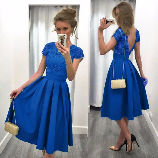 Splicing Solid Color Backless Short Sleeves Dress - Oh Yours Fashion - 4