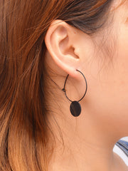 Korean Style Geometric Wafer Circle Earrings - Oh Yours Fashion - 3