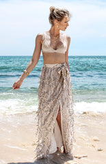 Sequins Tassel Mesh Long Beach Skirt - Oh Yours Fashion - 4
