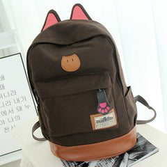 Cute Cat Ears Solid Color School Backpack Canvas Bag - Oh Yours Fashion - 7