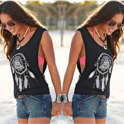 Scoop Sleeveless Flower Print Casual Loose Vest - Oh Yours Fashion - 1