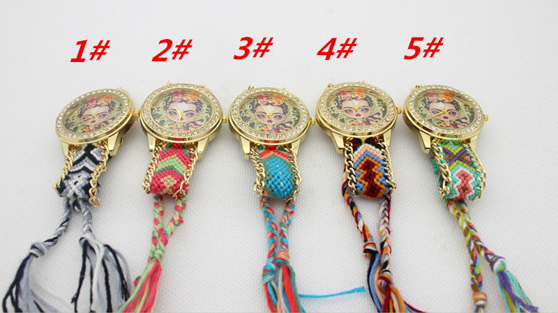 Beauty Girl Print Knitting Wool Strap Watch - Oh Yours Fashion - 4
