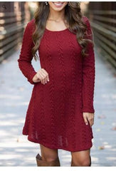Knitting Round Neck Long Sleeve Sweater Dress - Oh Yours Fashion - 5