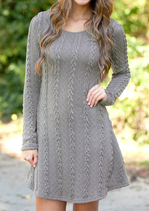 Knitting Round Neck Long Sleeve Sweater Dress - Oh Yours Fashion - 6