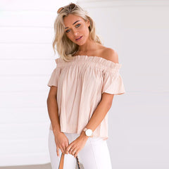 Strapless Falbala Short Sleeves Pure Color Blouse - Oh Yours Fashion - 5