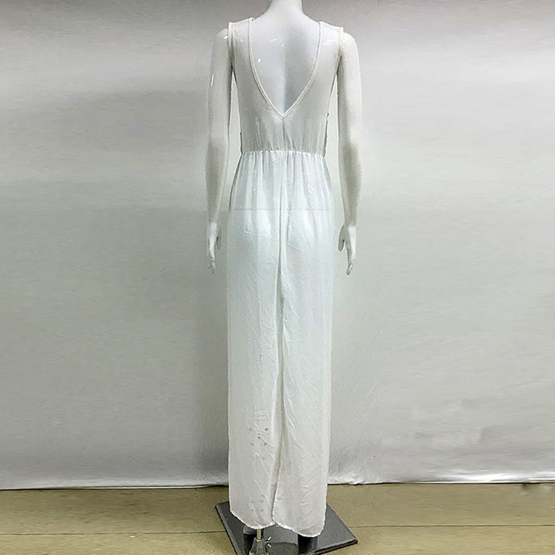 Hollow Out Deep V-neck Split Women Chiffon Long White Beach Dress