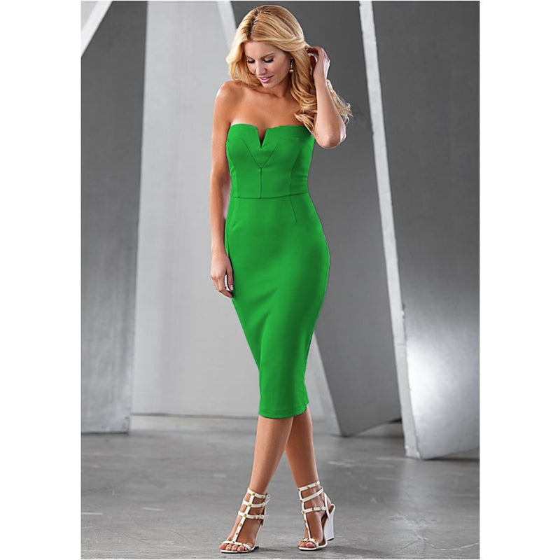 Pure Color Strapless V-neck Sleeveless Mid-calf Dress - Oh Yours Fashion - 6