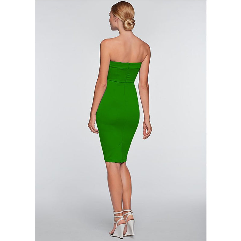 Pure Color Strapless V-neck Sleeveless Mid-calf Dress - Oh Yours Fashion - 7