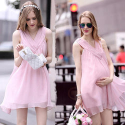 Chiffon Sleeveless Loose V-neck Short Maternity Dress - Meet Yours Fashion - 1