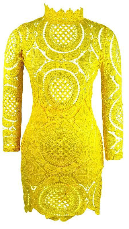 Hollow Out Lace High Neck Long Sleeve Lining Short Dress - Oh Yours Fashion - 5