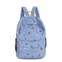 Bright Color Sailing Print Cute School Backpack Bag - Oh Yours Fashion - 1