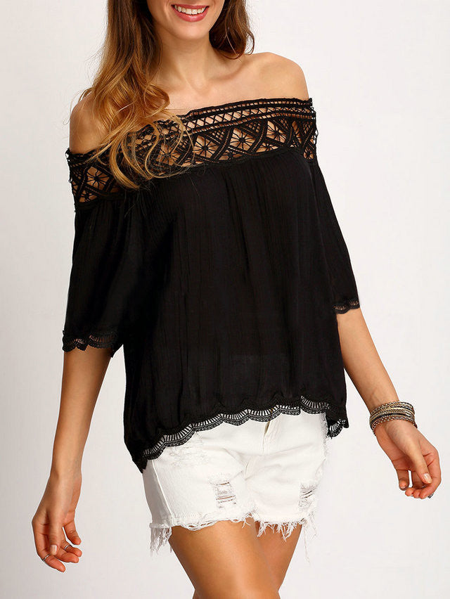 Strapless Lace Patchwork 1/2 Sleeves Off-shoulder Chiffon Blouse - Oh Yours Fashion - 5