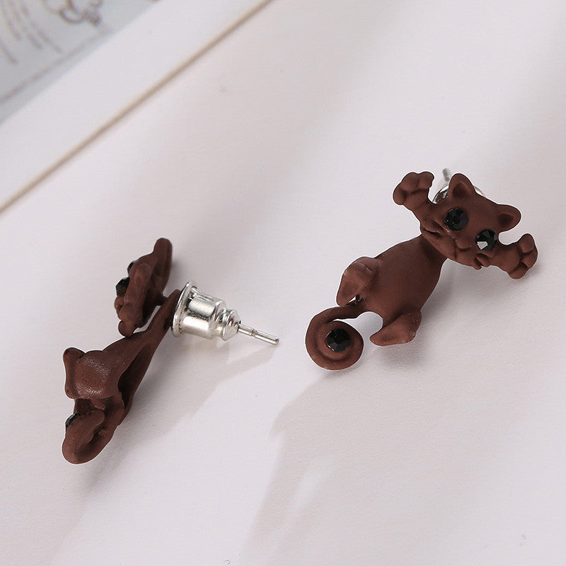 Creative Lovely Cat Stud Earrings - Oh Yours Fashion - 8